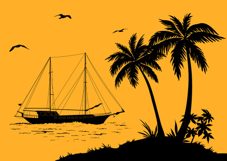 Tropical Sea Landscape, Palm Trees and Flowers, Ship and Birds Gulls black Silhouettes. Vector