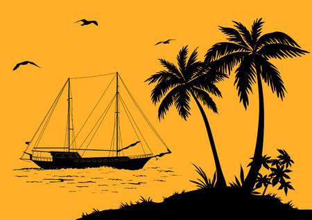 Tropische zee Landschap, palmbomen en bloemen, Schip en vogels Meeuwen zwarte silhouetten. Vector