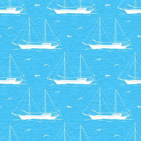 gulls: Seamless Pattern, Sailboats Ships and Birds Gulls in the Sea, White Silhouettes on a Blue Background with Symbolical Waves. Vector