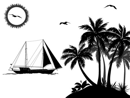 mew: Tropical Sea Landscape, Palm Trees and Flowers, Sailboat Ship, Sun and Birds Gulls Black Silhouettes Isolated on White Background. Vector