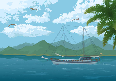 gulls: Tropical Sea Landscape, Sailboat Ship, Mountains, Palm Tree Branches, Sky with Clouds and Birds Gulls. Vector Illustration