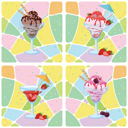 tasteful: Seamless Background, Glasses with Ice Cream, Strawberries and Cherry Berries on Abstract Pattern. Eps10, Contains Transparencies. Vector