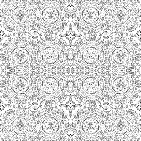 symbolical: Seamless Floral Pattern, Black Symbolical Contours Isolated on White Background. Vector
