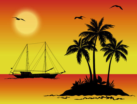 islet: Tropical Sea Landscape, island with Palm Trees, Sailboat Ship, Sun and Birds Gulls Black Silhouettes on Orange and Yellow Background. Eps10, Contains Transparencies. Vector