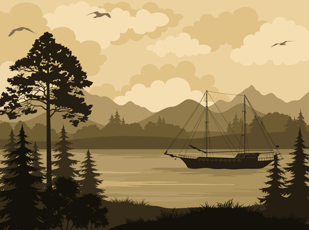 tree silhouettes: Landscape with Ship Sailboat on a Mountain Lake, Spruce Trees, Pine and Bushes, Birds in the Sky and Clouds. Vector