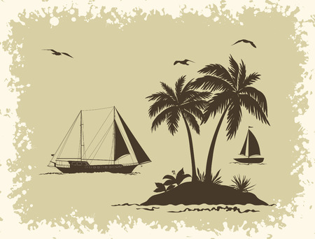 Tropical Sea Landscape, Palm Trees and Flowers, Sailboat Ships and Birds Gulls Black Silhouettes on Background with Frame of Blots. Vector