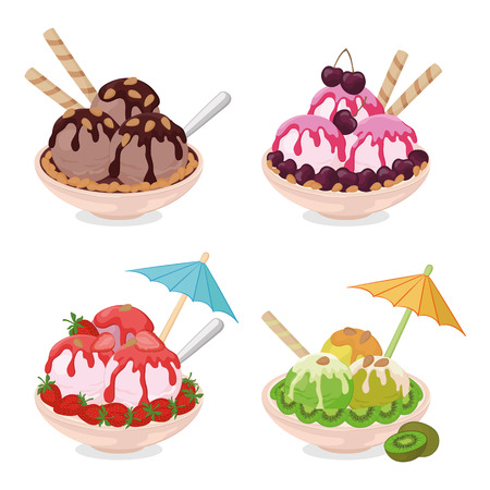Set Cups with Ice Cream, Strawberries and Cherries, Kiwi, Almond Nuts, Wafers, Spoons and Umbrellas. Vector