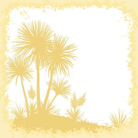 yellow trees: Tropical Landscape, Palms Trees, Yucca Flowers and Abstract Frame of Blots, Yellow Brown Silhouettes. Vector Illustration