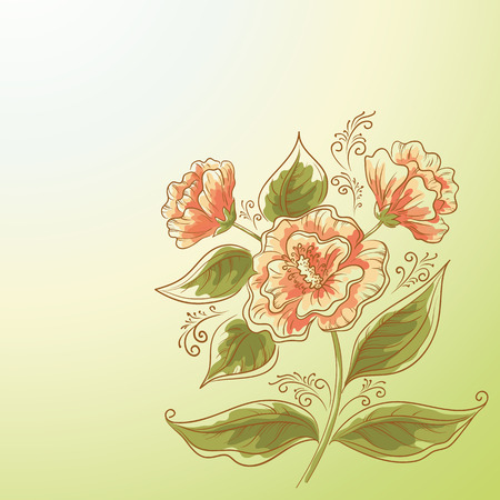 pink rose: Holiday Background, Symbolic Red Orange Flower and Green Leaves.   Illustration