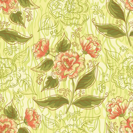 symbolical: Seamless Background, Symbolical Red Orange Flowers, Green Leaves, Contours and Abstract Pattern.