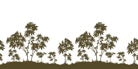 cathartic: Exotic Horizontal Seamless Landscape, Castor Plants with Leaves and Grass Black Silhouette Isolated on White Background. Vector