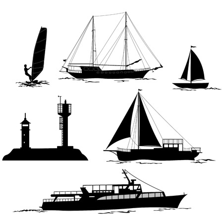 Set of Marine Vehicles and Objects, Ship, Sailboat, Yacht, Surfing Athlete, Lighthouses, Black Silhouettes Isolated on White Background. , Contains Transparencies. Vector Illustration