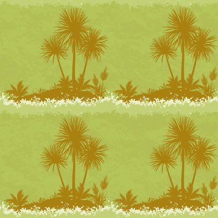 Exotic Seamless Landscape, Ocean Symbolic Island with Silhouettes Palm Trees and Plants on Abstract Grunge Background. Vector