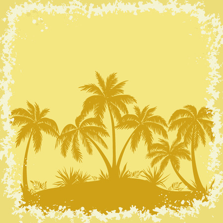 islet: Tropical Landscape, Palms Trees And Grass Brown Silhouettes on a Yellow Background with Frame of Blots. Vector