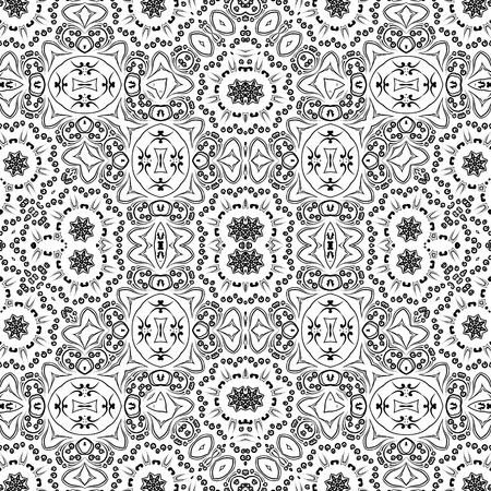 contours: Abstract Seamless Pattern, Black Contours Isolated on White Background. Illustration