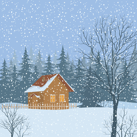 dacha: Winter Christmas Landscape, Rustic House on Snowy Forest Edge. Vector Illustration