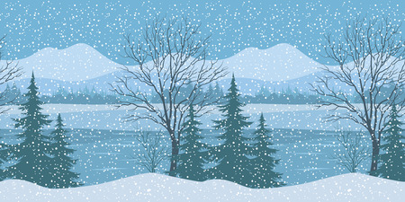 siberia: Seamless Horizontal Winter Christmas Mountain Woodland Landscape with River, Trees Silhouettes and Snowflakes. Vector