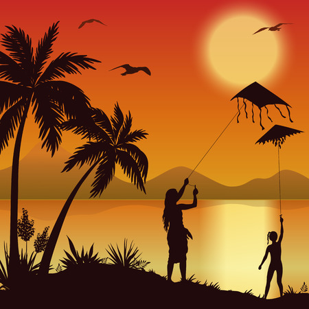 evening sky: People, young women launching into the sky kite flying on the shore of a tropical beach with palm trees, seagulls and the sun in the evening sky, silhouettes. Eps10, Contains Transparencies. Vector