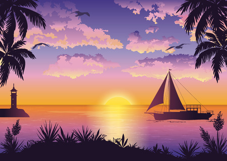 mew: Tropical Landscape, View From the Shore with Palm Trees and Plants, Sailing Ships and a Lighthouse in the Sea and Seagulls in the Sky with Sun and Clouds. Eps10, Contains Transparencies. Vector Illustration