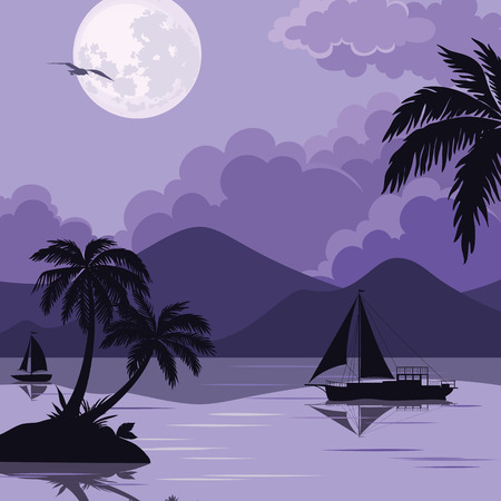 carribean: Exotic Tropical Night Landscape with Moonlit Sky, Sea Islands with Palm Trees and Sailboat Silhouettes. Element of This Image Furnished By NASA, www.visibleearth.nasa.gov. Vector