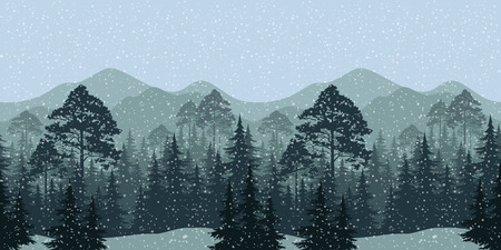 transparencies: Seamless Horizontal Winter Christmas Woodland Eps10, Contains Transparencies. Vector