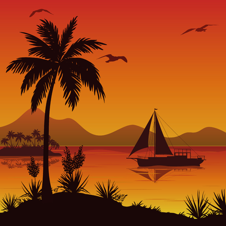 islet: Tropical Sea Landscape, Palm Trees and Flowers, Sailing Ship and Birds Gulls in the Sky. Vector Illustration