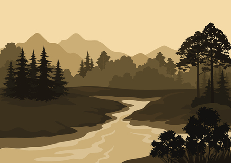 Night Landscape, Mountains, River and Trees Silhouettes. Vector Vettoriali