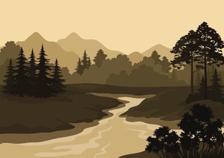 coniferous forest: Paisaje nocturno, montañas, río y los árboles Siluetas. Vector