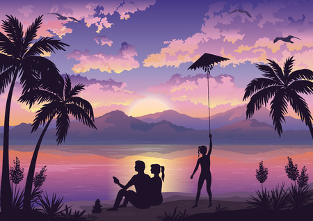 mew: People, Family on Tropical Beach with Palms, Mother and Father Looking at the Landscape and Daughter Launching Kite, Sun, Seagulls and Clouds into the Sky. Eps10, Contains Transparencies. Vector