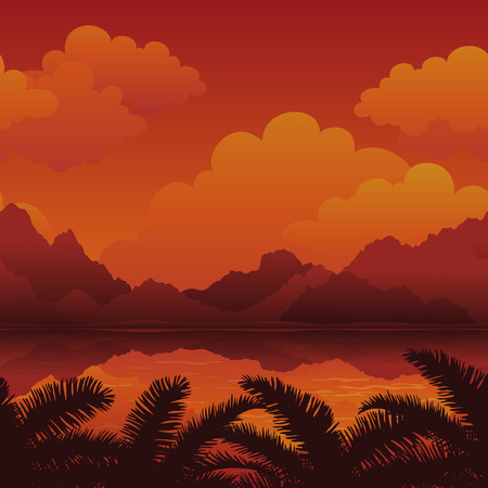 islet: Exotic Horizontal Seamless Landscape, Sea, Palm Tree Leaves Silhouettes, Mountains and Cloudy Sky. Eps10, contains transparencies. Vector Illustration