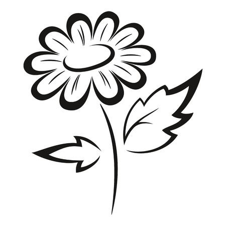 abloom: Symbolical Flower Monochrome Black Pictogram Icon Isolated on White Background. Vector Vectores