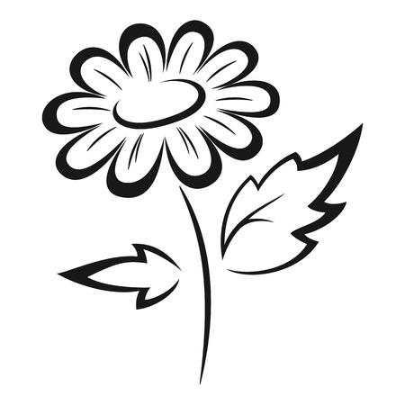 abloom: Symbolical Flower Monochrome Black Pictogram Icon Isolated on White Background. Vector Illustration
