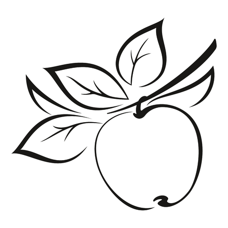symbolical: Symbolical Fruit, Apple on a Branch with Leaves Monochrome Black Pictogram Isolated on White Background. Vector Illustration