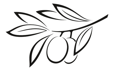 Olive Branch with Berries and Leaves Monochrome Black Pictogram Icon Isolated on White Background. Vector  イラスト・ベクター素材