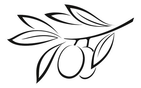 딸기와 잎 흑백 블랙 픽토그램 아이콘 올리브 지점 흰색 배경에 고립입니다. 벡터