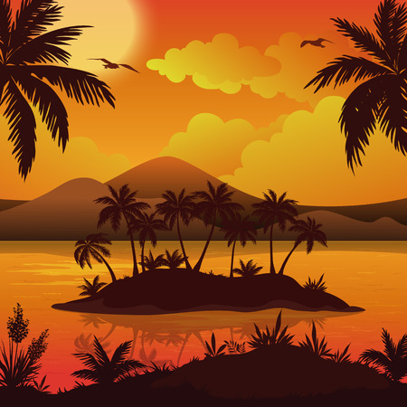 Tropical Landscape, Sea Islands with Palm Trees, Flowers, Mountain, Clouds, Sun and Birds Gulls, Black Silhouettes on Red - Yellow Background. Eps10, Contains Transparencies. Vector