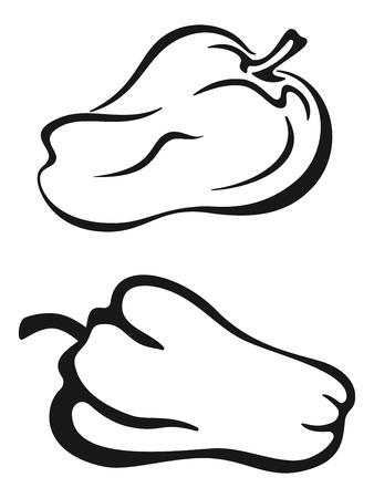 black pictogram: Vegetable, Pepper Monochrome Black Pictogram Isolated on White Background. Vector