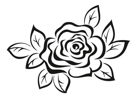 abloom: Rosa Flor Monocromo Negro Icono Pictograma aisladas sobre fondo blanco. Vector