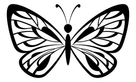 farfalla tatuaggio: Farfalla in bianco e nero nero pittogramma icona isolato su sfondo bianco. Vettore