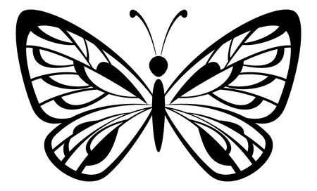 tatuaje mariposa: Mariposa blanco y negro Negro del pictograma icono aislado en el fondo blanco. Vector Vectores