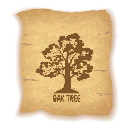 roble arbol: Oak Tree Pictograma de la silueta y de la inscripción en el fondo del vintage de una sábana vieja de papel. Eps10, contiene las transparencias. Vector Vectores