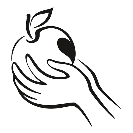 garden of eden: Hands and Fruit, Apple with Leaf Monochrome Black Pictogram Icon Isolated on White Background. Vector