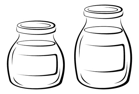 lids: Glass Jars with Contents, Lids and Blank Label to Inscriptions Black Contour Pictograms Isolated on White Background.