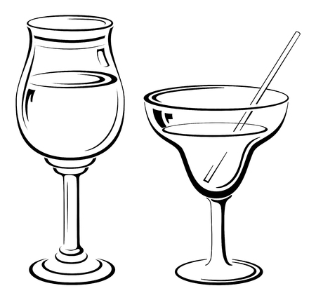 tipple: Glass Goblets with Drinks and Straw, Black Contour Pictograms Isolated on White Background. Vector Illustration