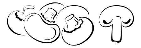 cartoon mushroom: Mushrooms, Set Monochrome Black Pictograms Icons Isolated on White Background.  Illustration