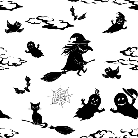 animal silhouette: Seamless Pattern, Symbols Halloween Holiday, Black Silhouettes on White Background. Vector Illustration