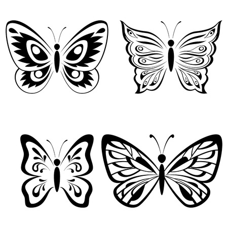 Set Butterflies Monochrome Black Pictograms Icons Isolated on White Background. Vector