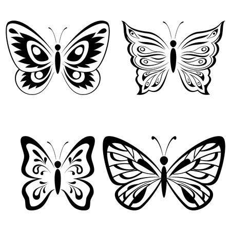 papillon dessin: Set Papillons Monochrome noir Pictogrammes Icônes isolé sur fond blanc. Vecteur