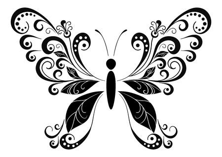Papillon symbolique avec des ailes feuilles, Monochrome noir pictogramme Icône isolé sur fond blanc. Vecteur Banque d'images - 47013664