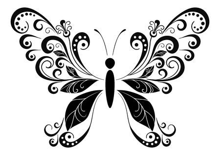 symbolical: Symbolical Butterfly with Wings Leaves, Monochrome Black Pictogram Icon Isolated on White Background. Vector
